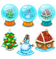 glass balls christmas tree snowman and house vector image vector image