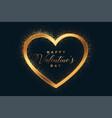 golden glitter happy valentines day heart vector image