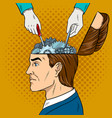 hands repairs gears in head pop art vector image