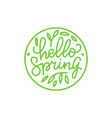 hello spring outlined logo in flat style vector image vector image