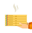 hot pizza in hands a courier flat isolated vector image