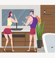 hygiene procedures in bathroom young man and vector image
