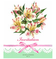 Invitation card with Alstroemeria flowers vector image