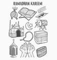 islamic set doodle art of ramadan kareem or eid vector image