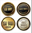 iso 9001 certified golden badge sollection vector image vector image