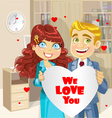 man and woman in office holding banner heart vector image vector image