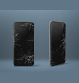mobile phone with broken screen set gadget device vector image vector image