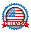 Nebraska and USA flag badge vector image vector image