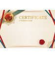 official retro certificate with red gold design vector image vector image