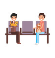 owners with rabbit and cat waiting on chairs vector image vector image