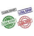 scratched textured illegal export stamp seals vector image vector image