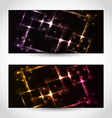 Set abstract cards with glow effects vector image