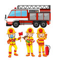 set of fireman and truck vector image vector image