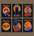 set of six cartoon style halloween posters with vector image