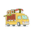 street food sushi and japanese truck sketch vector image vector image