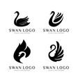 swan logo set silhouettes vector image