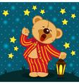 teddy bear in pajamas yawns