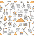 thin line art archaeology seamless pattern vector image vector image
