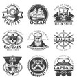 vintage sailor naval label set vector image vector image