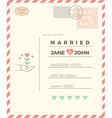 Vintage wedding invitation card template vector image