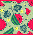 watermelon seamless pattern leaves flowers shabby vector image vector image