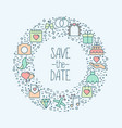 wedding icons in circle save date concept vector image vector image