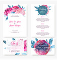 wedding invitation kit with hand painted peonies vector image vector image