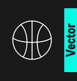 white line basketball ball icon isolated on black vector image vector image