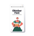 woman in mask holding beer mugs oktoberfest party vector image vector image
