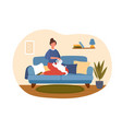 woman with dog concept vector image
