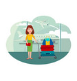 woman with trolley full baggage at airport vector image vector image
