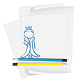 A paper with a sketch of a queen vector image vector image