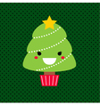 Adorable cartoon Christmas Kawaii tree vector image