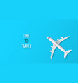 airplane on blue background with time to travel vector image vector image