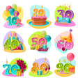 anniversary candle numbers retro set vector image vector image