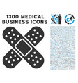 bandage icon with 1300 medical business icons vector image vector image