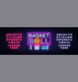basketball neon sign basketball design vector image vector image