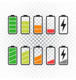 battery icon set on isolated background symbols vector image vector image