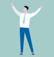 business idea businessman standing with hands up vector image vector image