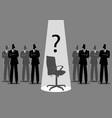 businessmen standing with spotlighted empty chair vector image vector image