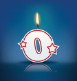 Candle number 0 with flame vector image vector image