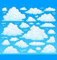 cartoon fluffy cloud at azure skyscape heavenly vector image vector image