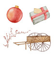 christmas watercolor element hand painting vector image vector image