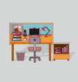colorful background home office interior with vector image vector image