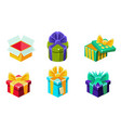 colorful gift boxes set various present boxes vector image vector image