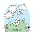 cute bird animal with happy sun vector image vector image