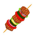 doner kebab - fried meat cartoon flat style vector image vector image
