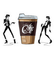 fashion girl in sketch-style with big cup of cofe vector image