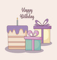 gift boxes and sweet cake vector image vector image