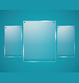 glass plates are installed glass banners vector image vector image